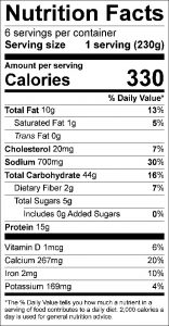 Tuna Broccoli Casserole Food Nutrition Facts Label (click to view)
