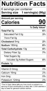 Apple Coleslaw Food Nutrition Facts Label (click for details)