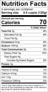 Broccoli Nectarine Stir-Fry Food Nutrition Facts Label