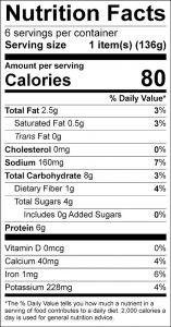 Broiled Tomatoes and Cheese Food Nutrition Facts Label (click for details)
