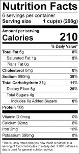 Corn Chili Food Nutrition Facts Label (click for details)
