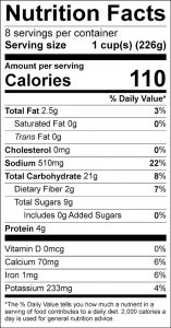 Corn and Tomato Soup Food Nutrition Facts Label (click for details)