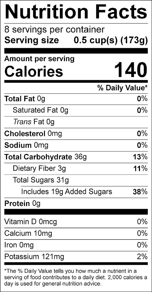 Cranberry Applesauce Food Nutrition Facts Label