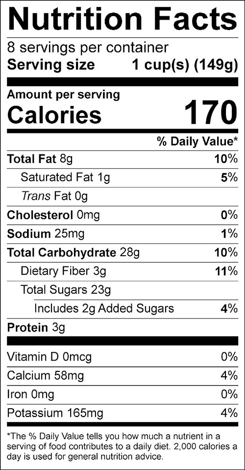 Cranberry Waldorf Salad Food Nutrition Facts Label
