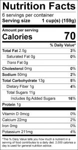 Cucumbers Vinaigrette Food Nutrition Facts Label