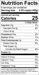 Dilled Low Fat Yogurt Dressing or Dip Food Nutrition Facts Label (click for details)