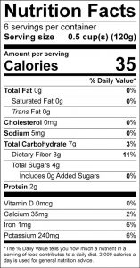 Green Beans Italian Food Nutrition Facts Label (click for details)