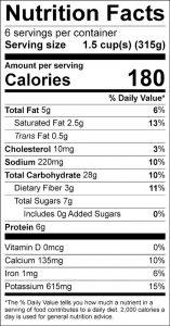 Potato Soup Nutrition Facts Food Label (click for details)