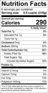 Pumpkin Rice with Apricots Food Nutrition Facts Label (click for details)