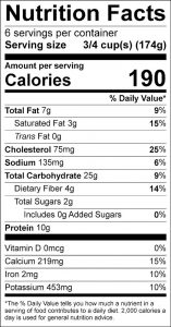 Greens and Rice Food Nutrition Facts Label (click for details)