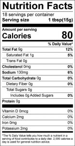 Celery Dressing Food Nutrition Facts Label (click to view)