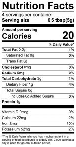 Convenience Salt Free Seasoning Mix Food Nutrition Facts Label (click to view)