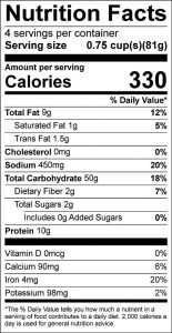 Convenience Seasoned Coating Mix for Meat, Fish, and Poultry Food Nutrition Facts Label (click to view)