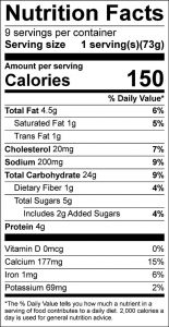 Corn Bread Blueberry Squares Food Nutrition Facts Label (click to view)