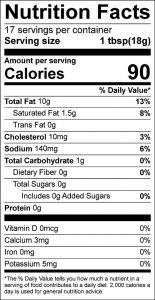 Curry Dressing Food Nutrition Facts Label (click to view)