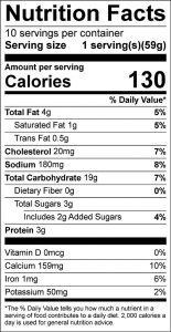 Golden Goody Pancakes Food Nutrition Facts Label (click to view)