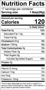 Honey-Celery Dressing Food Nutrition Facts Label (click to view)
