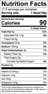 Honey-Lemon-Orange Dressing Food Nutrition Facts Label (click to view)