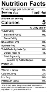 Italian Flavoring Food Nutrition Facts Label