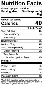 Mocha Mix Food Nutrition Facts Label (click to view)