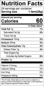 Oatmeal Banana Cookies Food Nutrition Facts Label (click to view)