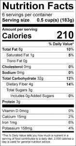Pear Brown Rice Food Nutrition Facts Label (click for details)