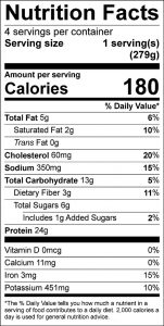 Spaghetti Meat Sauce Food Nutrition Facts Label (click to view)