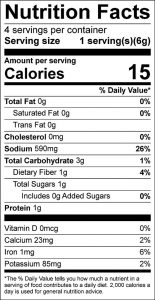Spanish Rice Mix Food Nutrition Facts Label (click to view)