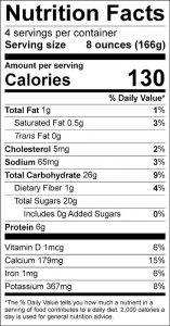 Strawberry Smoothies Food Nutrition Facts Label (click for details)