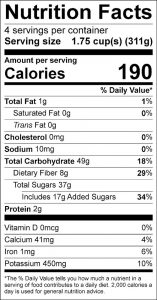 Summertime Fruit Salad Food Nutrition Facts Label (click for details)