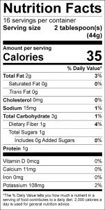 Eggplant Dip Food Nutrition Facts Label