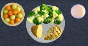 melon balls, broccoli and cauliflower, 1/2 baked potato, skinless chicken breast
