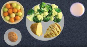 melon balls, broccoli and cauliflower, 1/2 baked potato, roll, skinless chicken breast