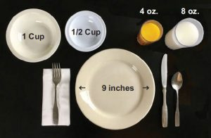 Photo showing a 9-inch plate, 1-cup bowl, 1/2-cup bowl, 8-ounce glass, and 4-ounce juice glass.