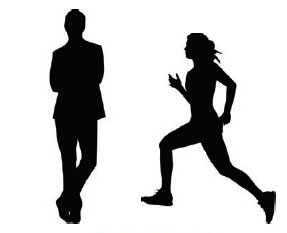 Illustration showing a standing man and a running woman