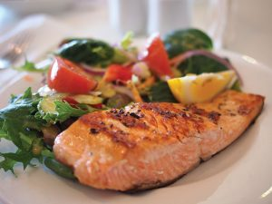 cooked salmon with vegetables