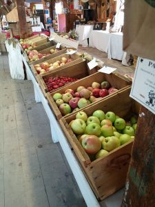 Bushel boxes filled with apples.