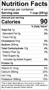 Broccoli Soup Food Nutrition Facts Label (click for details)