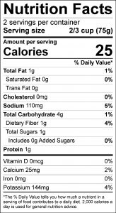 Celery-Carrot Salad Food Nutrition Facts Label (click for details)