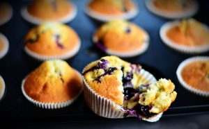 fresh-baked blueberry muffins still in the baking tin