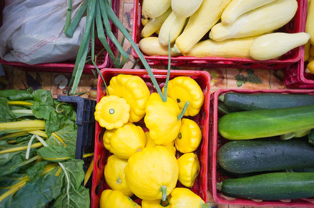 bins of fresh produce