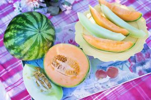 a variety of melons: cantaloupe, honeydew, and watermelon
