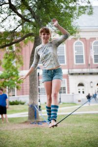 Teenager on a tightrope