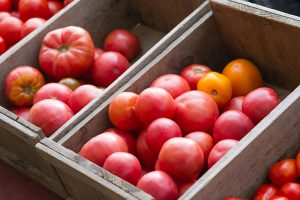 tomatoes for sale at farmers market