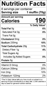 Applesauce Muffins Food Nutrition Facts Label (click for details)