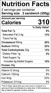 Barbeque Beef Sandwich Food Nutrition Facts Label (click for details)