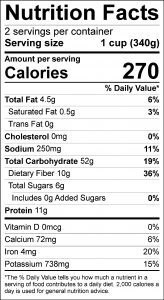 Bean Tamale Pie Food Nutrition Facts Label (click for details)