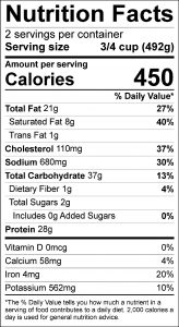 Beef and Noodles Food Nutrition Facts Label (click for details)