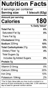 Biscuits with Convenience Mix Food Nutrition Facts Label (click for details)