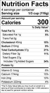Carrot Raisin Bars Food Nutrition Facts Label (click for details)